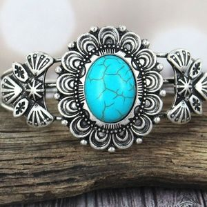 Cuff Bracelet Southwestern Floral Turquoise Oval
